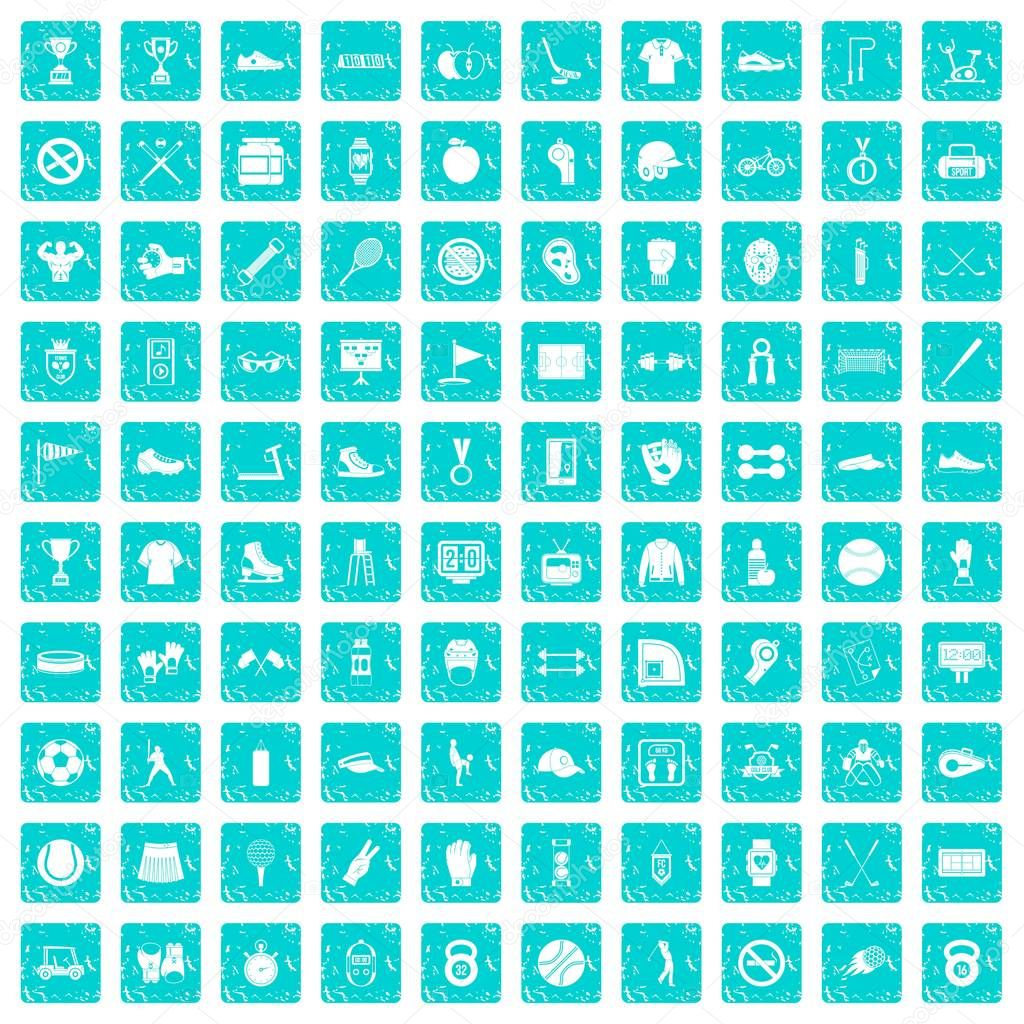 100 sport equipment icons set grunge blue