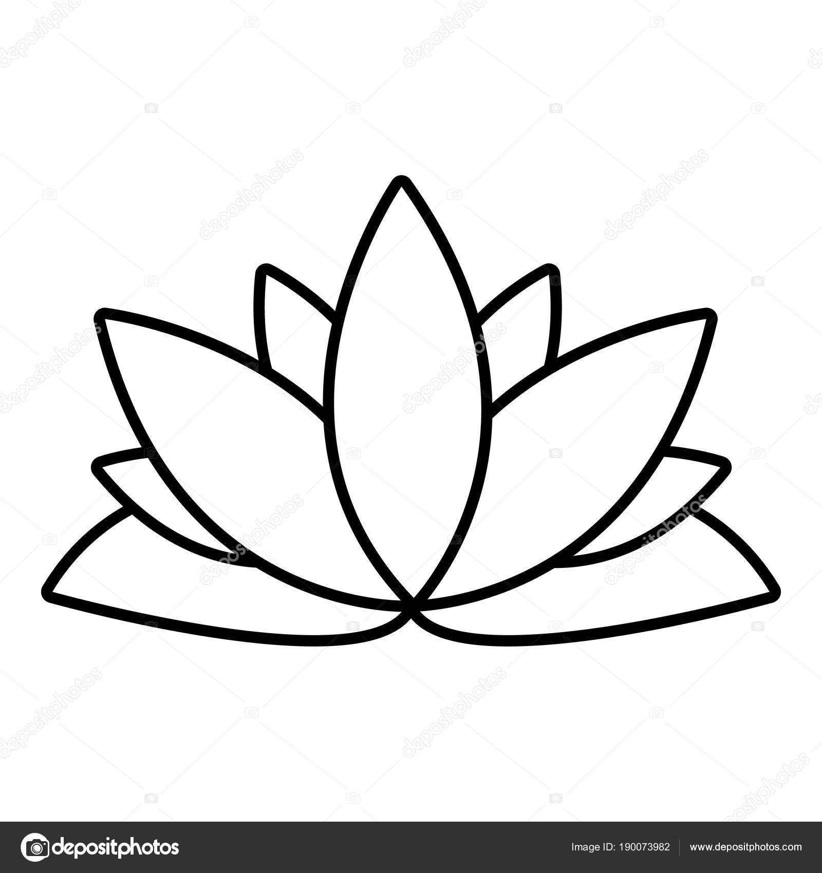 Lotus Flower Icon Outline Style Stock Vector Ylivdesign 190073982