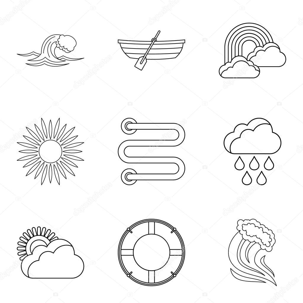 Water trip icons set, outline style