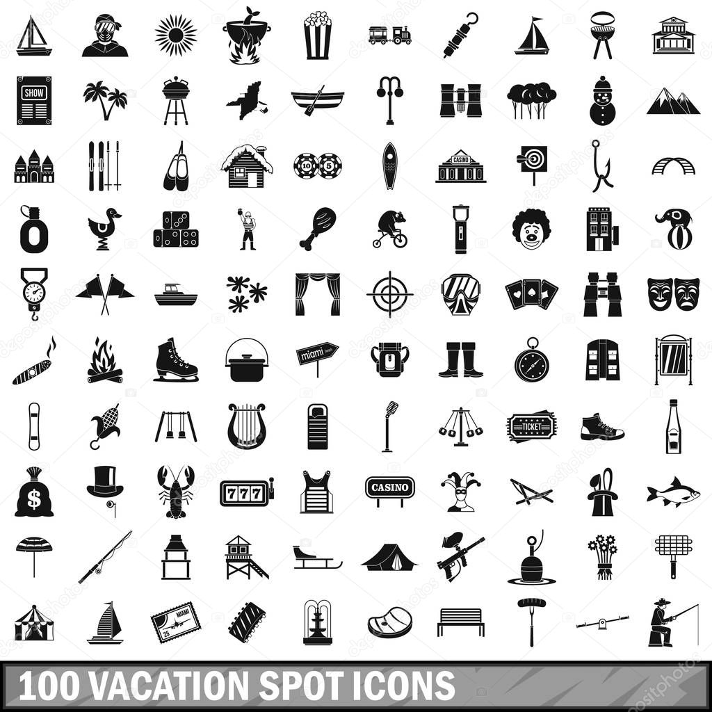 100 vacation spot icons set, simple style