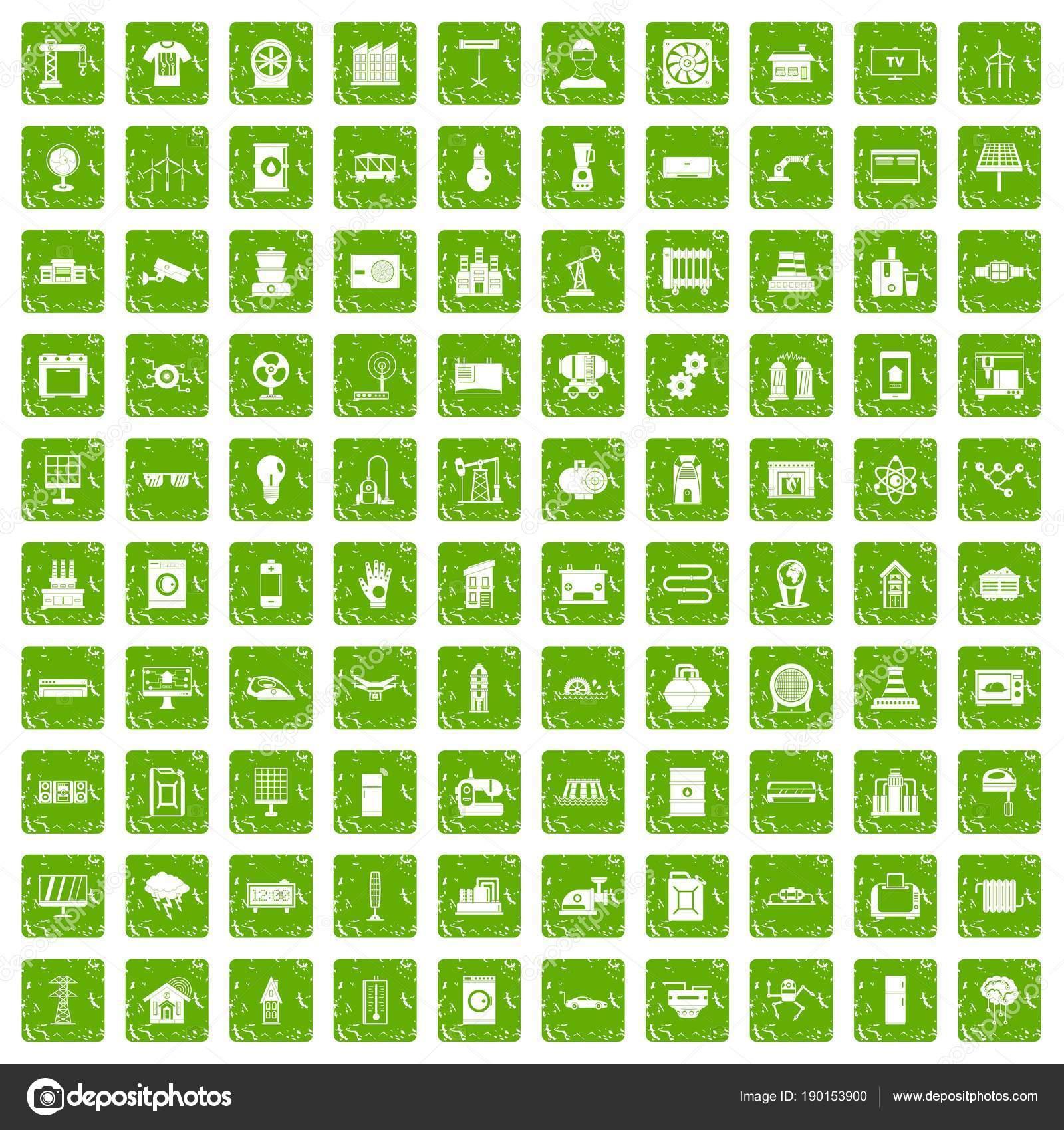 100 Elektrotechnik Symbole set Grunge grün — Stockvektor ...