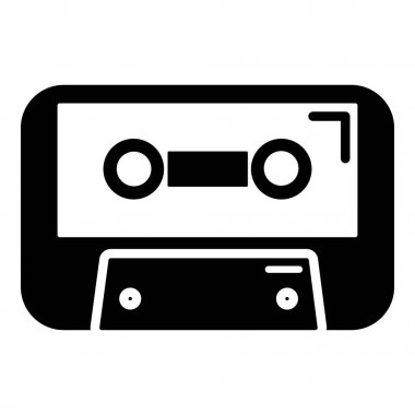 Cassete tape icon , simple style