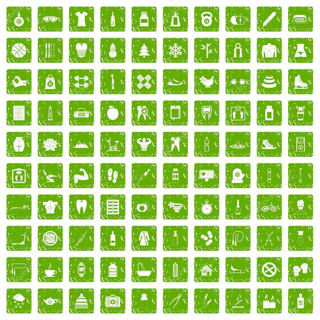100 fit body icons set grunge green