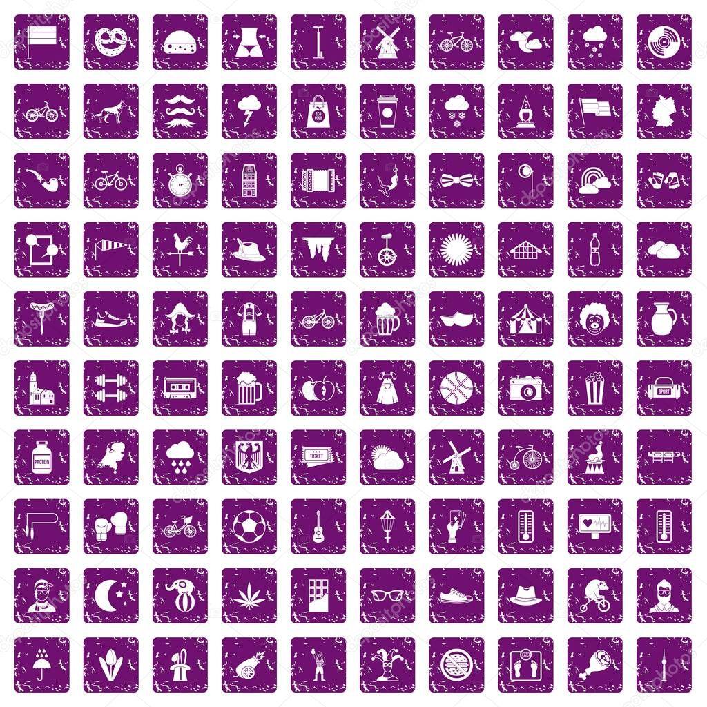 100 bicycle icons set grunge purple