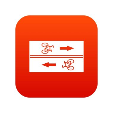 Road for cyclists icon digital red