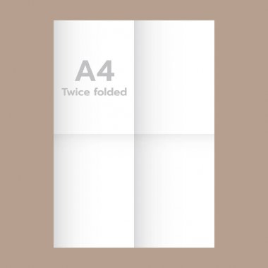 Twice folded A4 paper mockup, realistic style