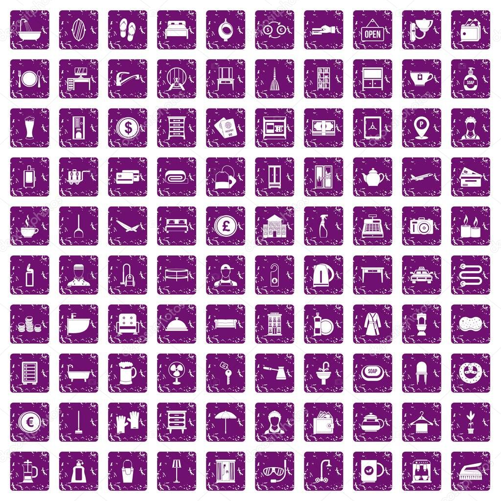 100 inn icons set grunge purple