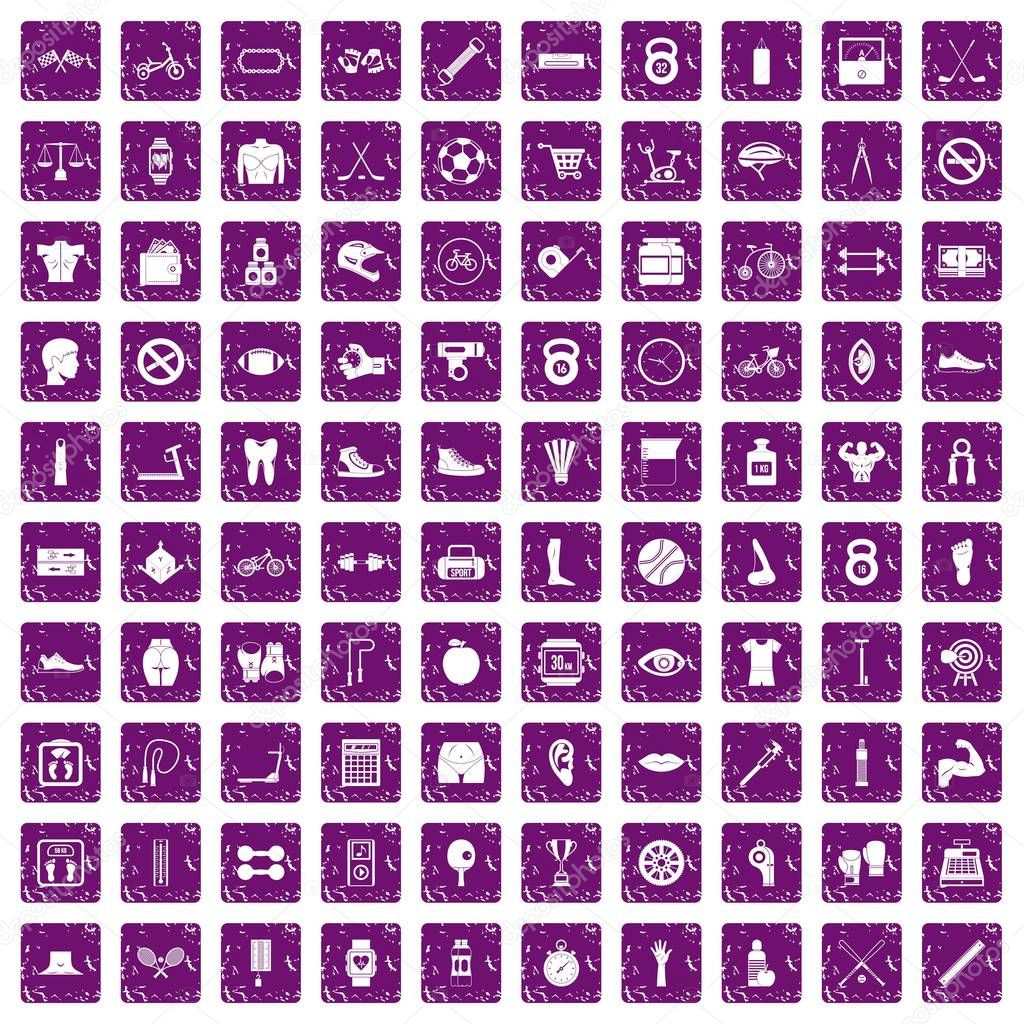 100 kettlebell icons set grunge purple