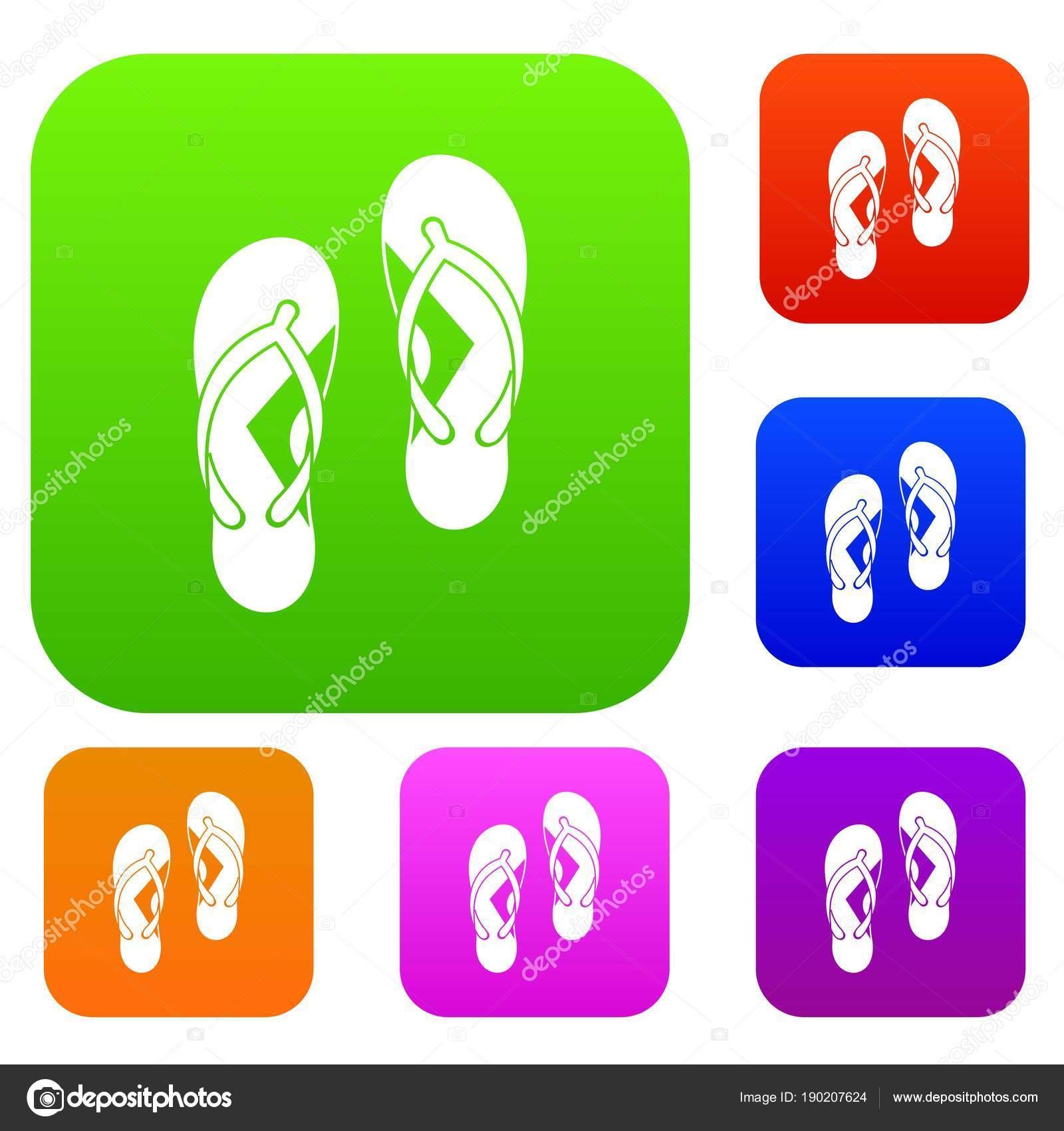 ade6edc2fdf9 Flip flop sandals set color collection — Stock Vector © ylivdesign ...