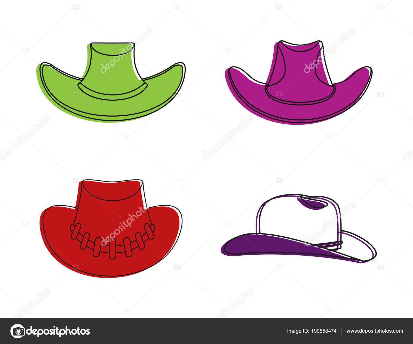 Conjunto de iconos de sombrero de vaquero. Color esquema conjunto de iconos  de vector de sombrero de vaquero para diseño web aislado sobre fondo blanco  ... 4872972a800