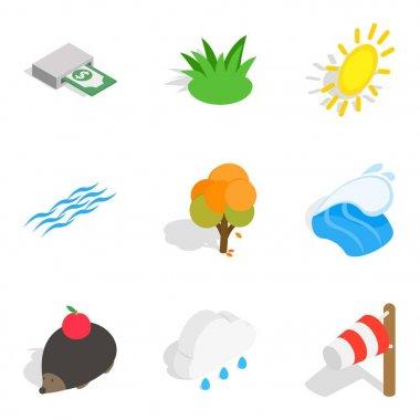 Ecologically friendly icons set, isometric style