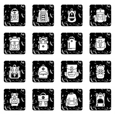 Backpack icons set grunge vector