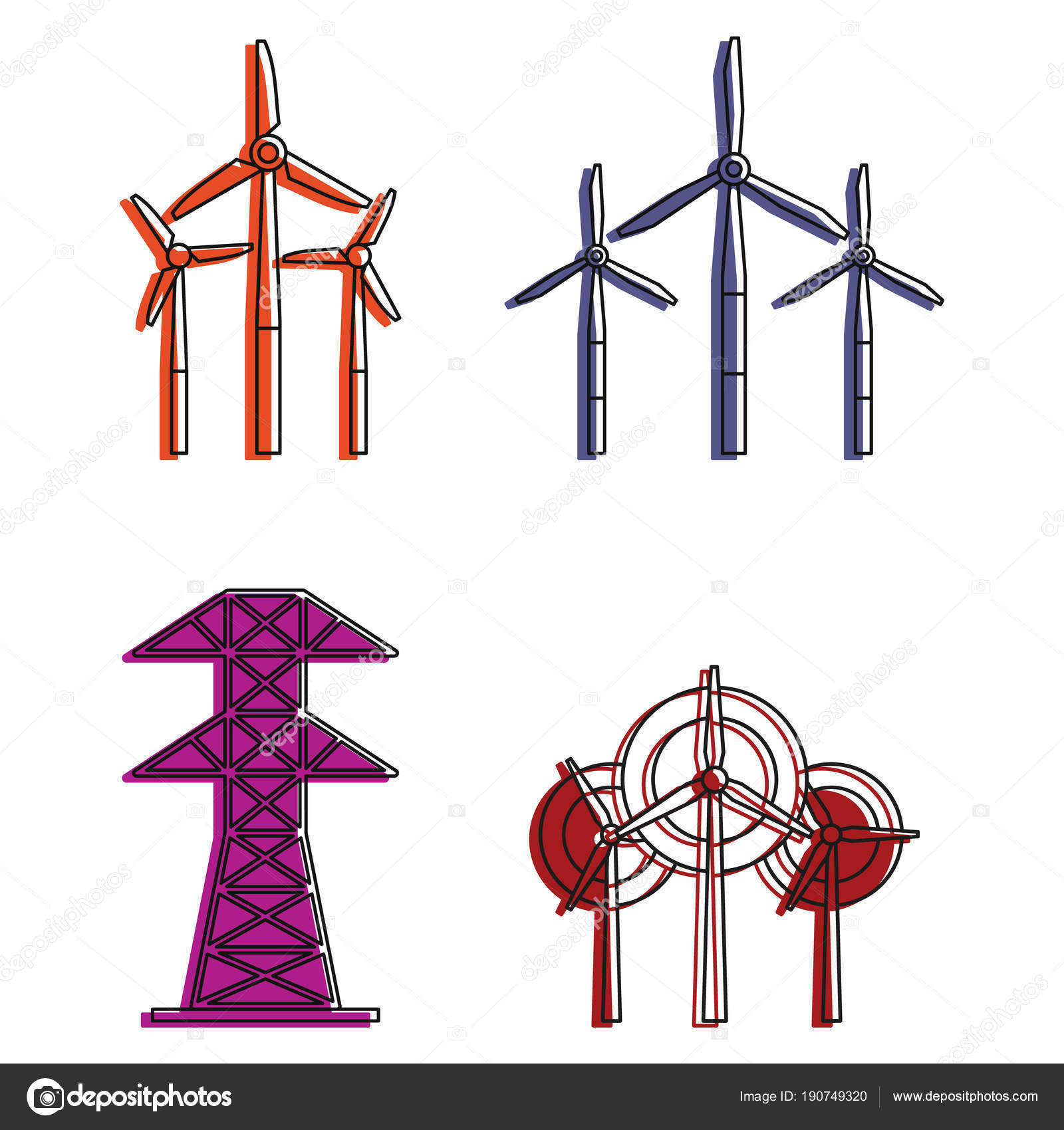 Elektrische Turm Symbol Set, Farbe Umriss-Stil — Stockvektor ...