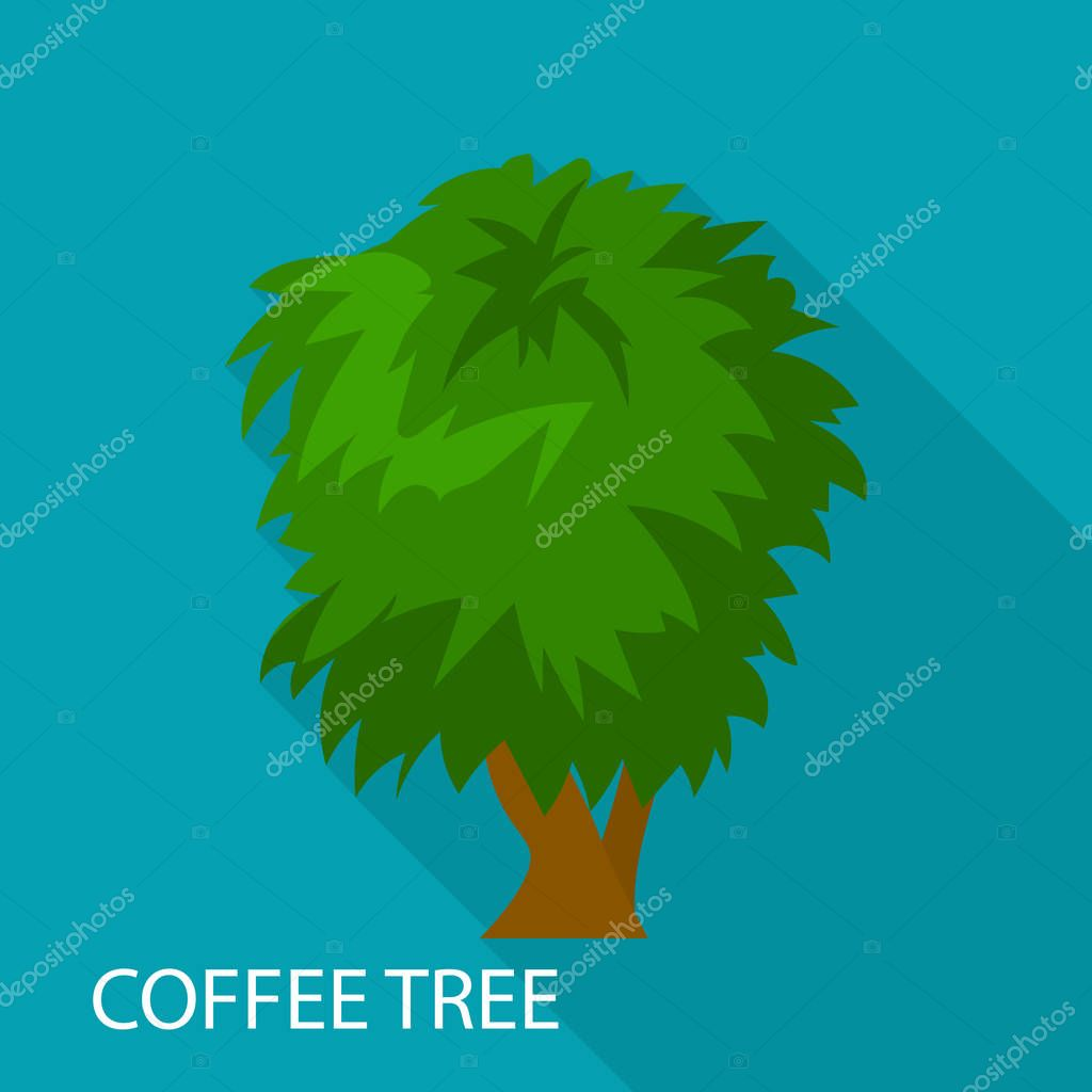 Coffee tree icon, flat style