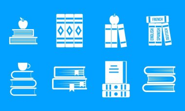 Volume of book icon blue set vector