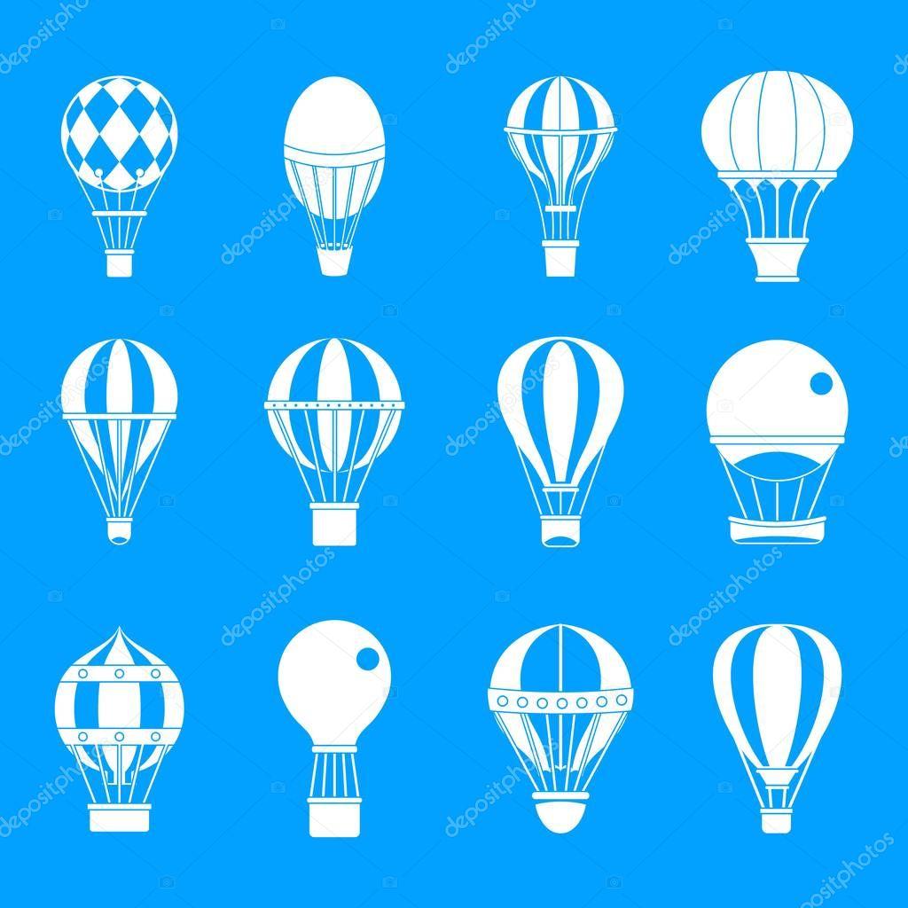 Air ballon icon blue set vector