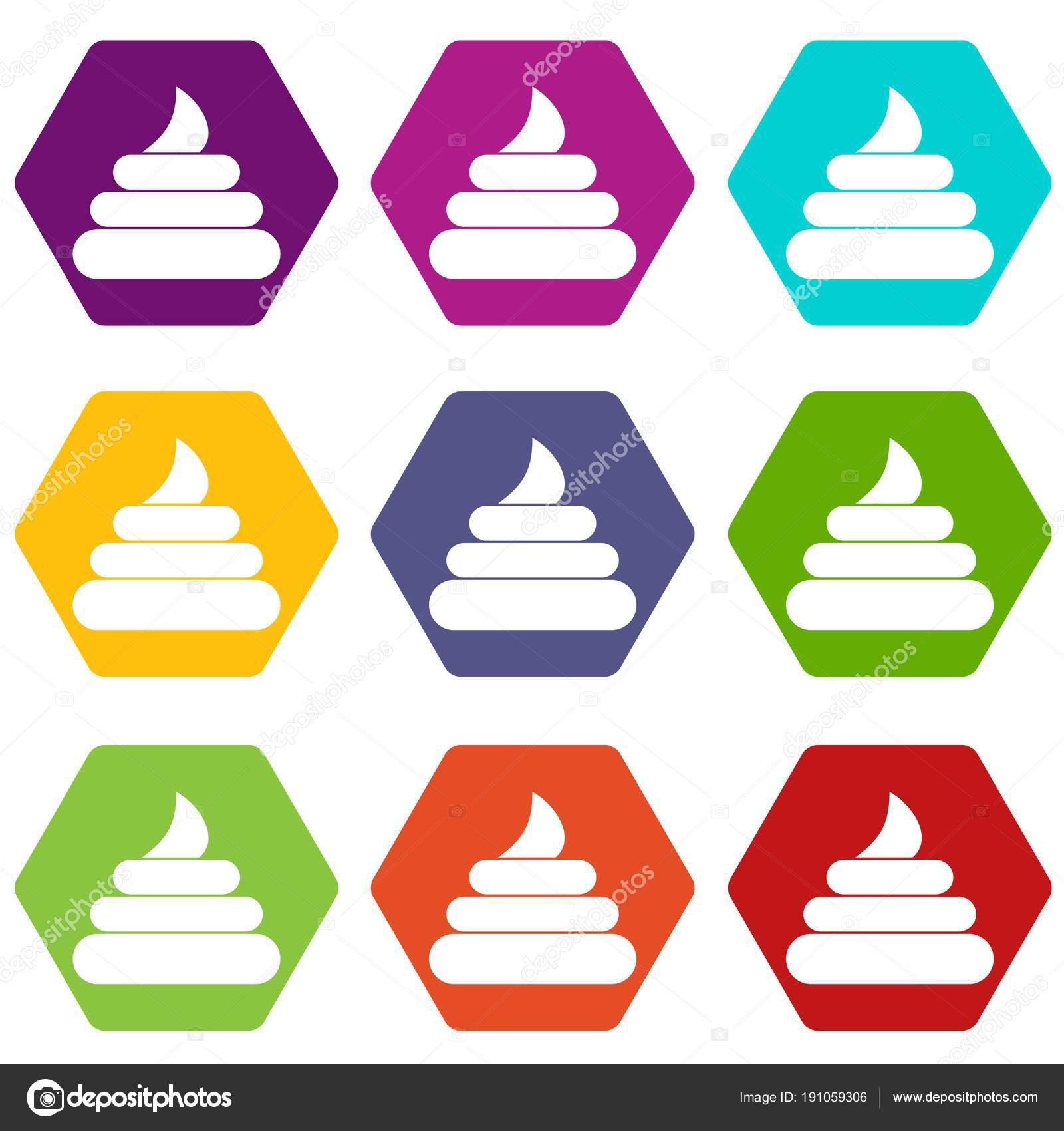 Stuhlgang Symbolsatz Farbe Hexaeder Stockvektor Ylivdesign