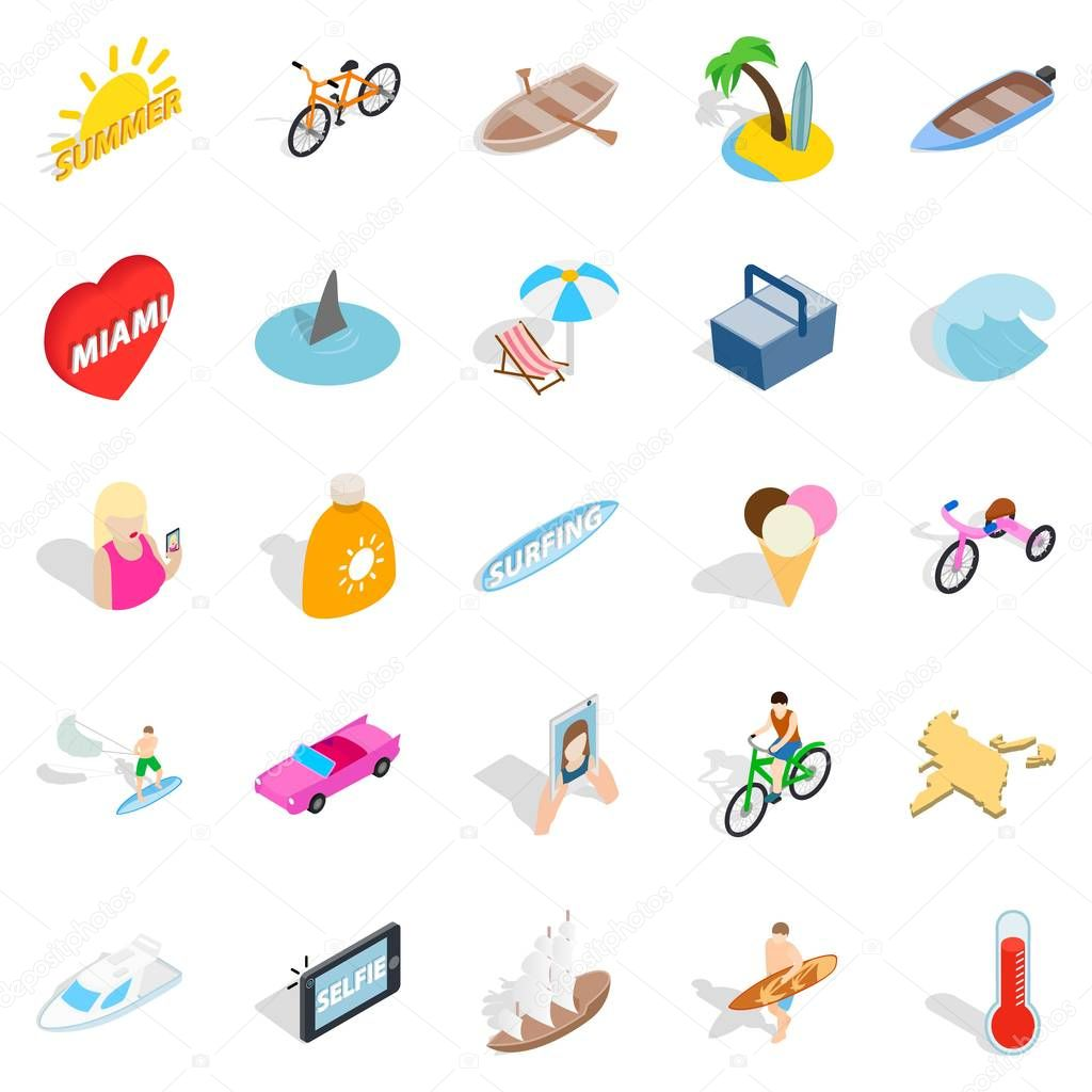 Rich rest icons set, isometric style