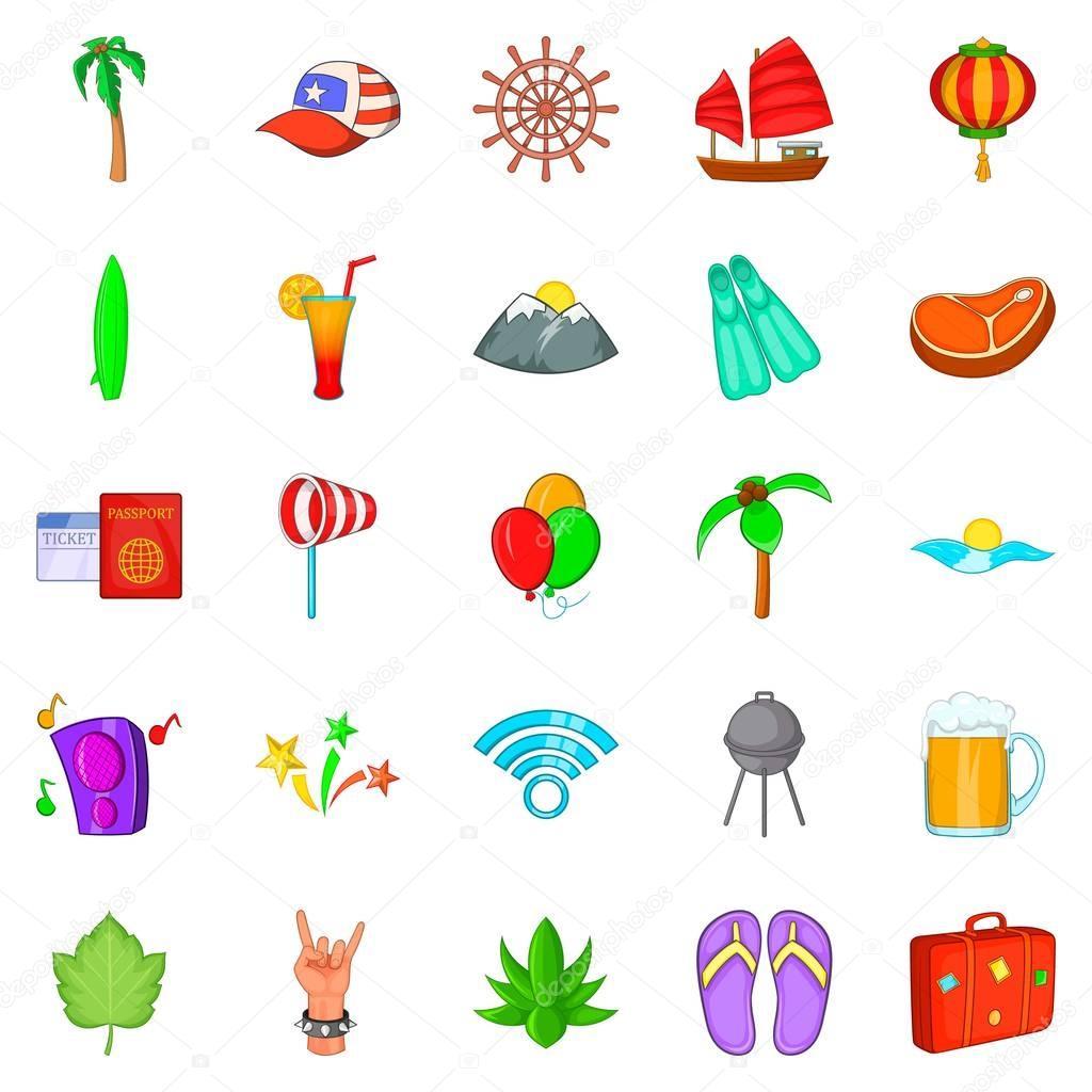 Asian beach icons set, cartoon style
