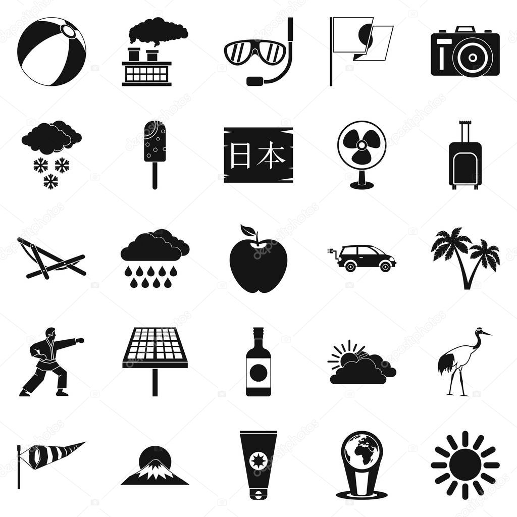 Street classes icons set, simple style