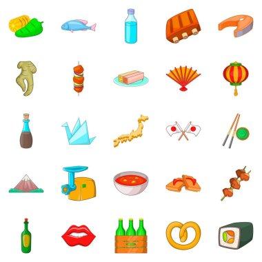 European food icons set, cartoon style