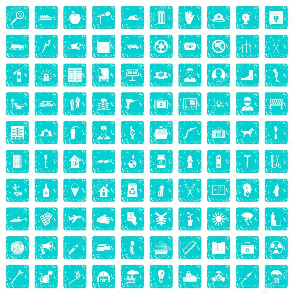 100 help icons set grunge blue