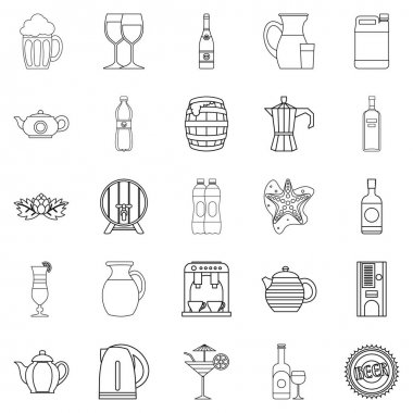 Flowing bowl icons set, outline style