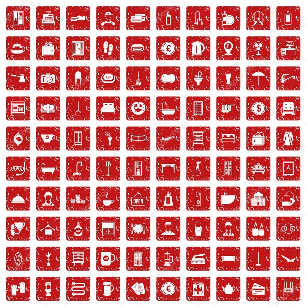 100 inn icons set grunge red