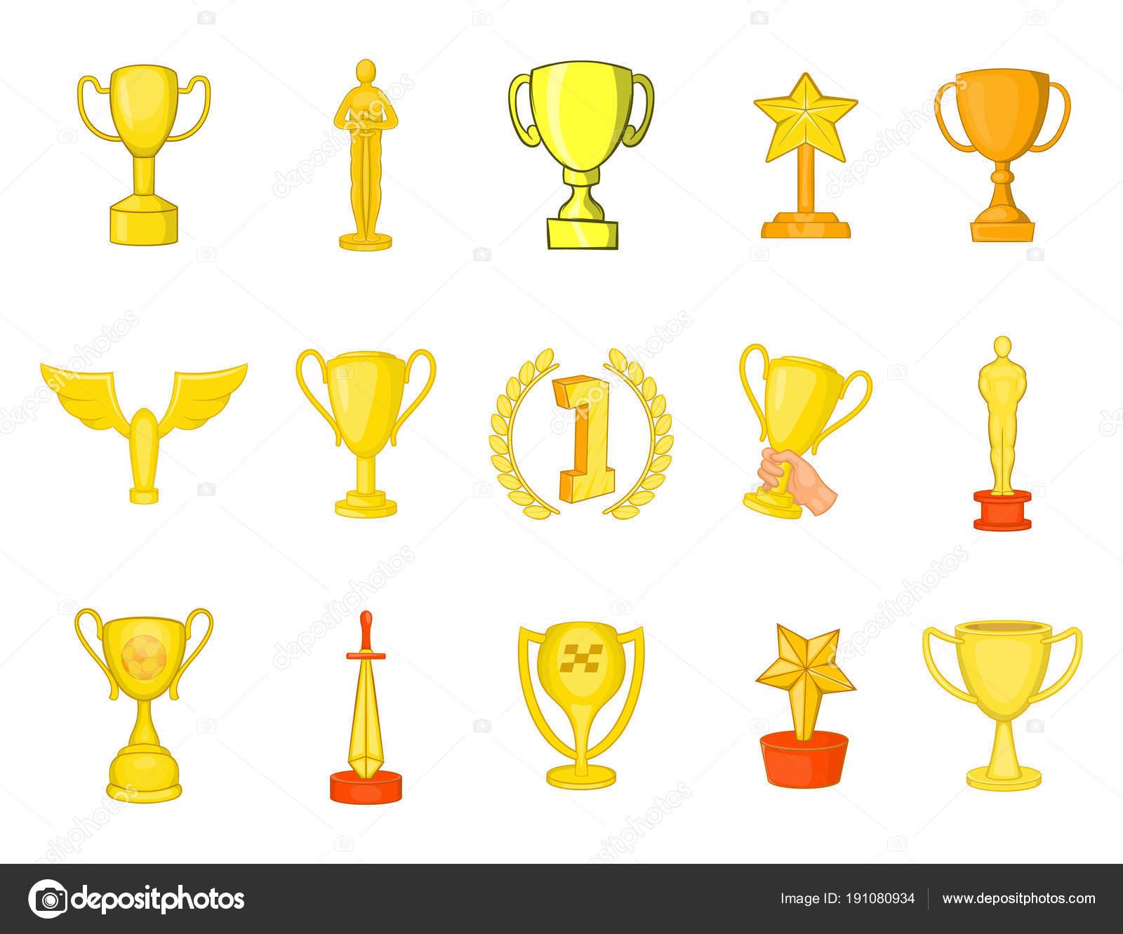 Trofeo Copa De Conjunto De Iconos, Estilo De Dibujos