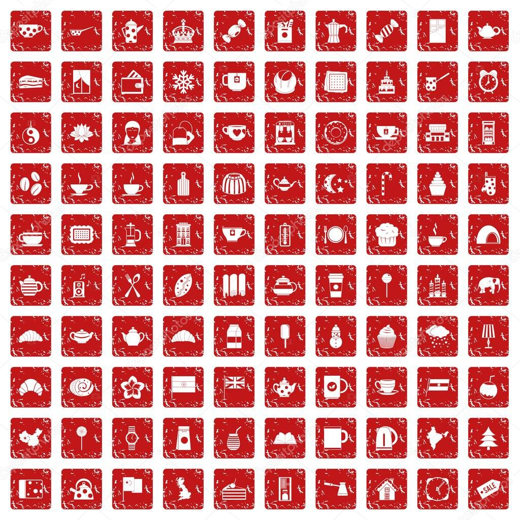 100 tea cup icons set grunge red