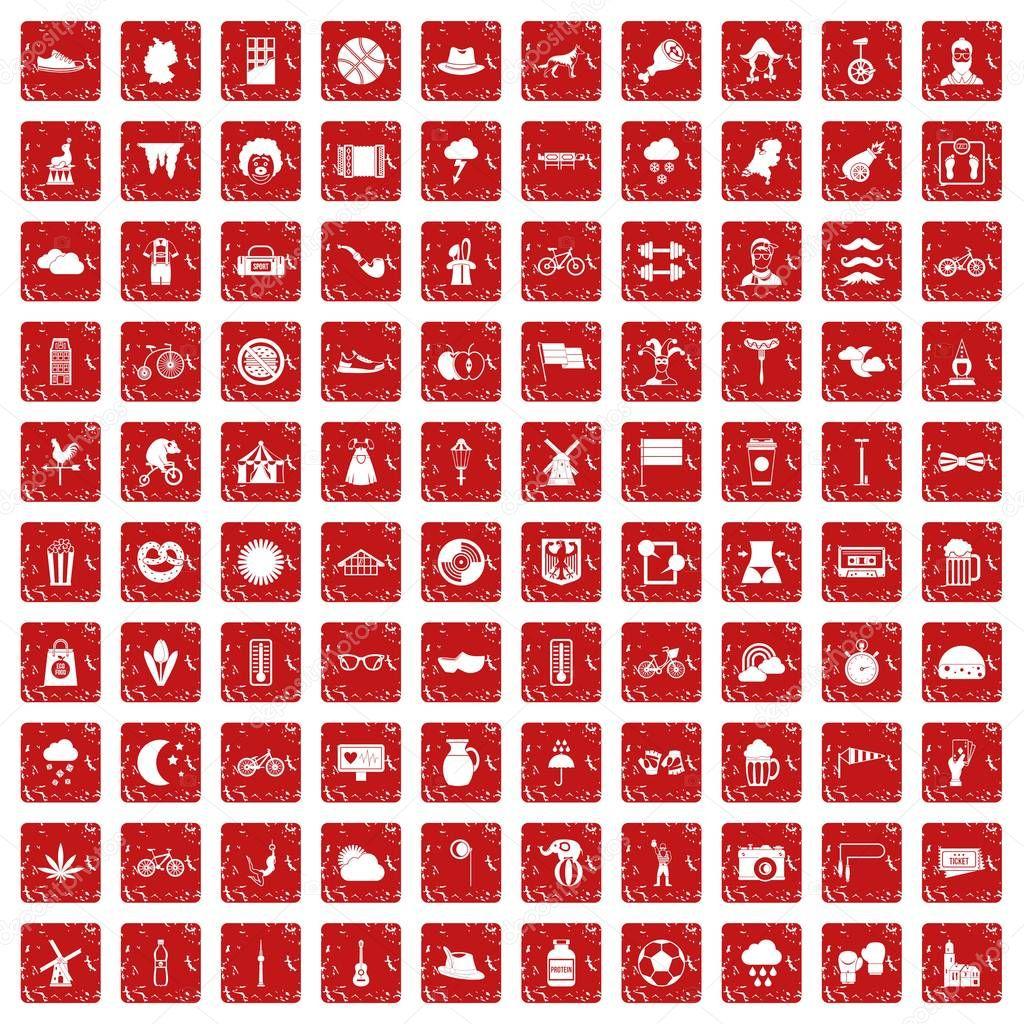 100 bicycle icons set grunge red