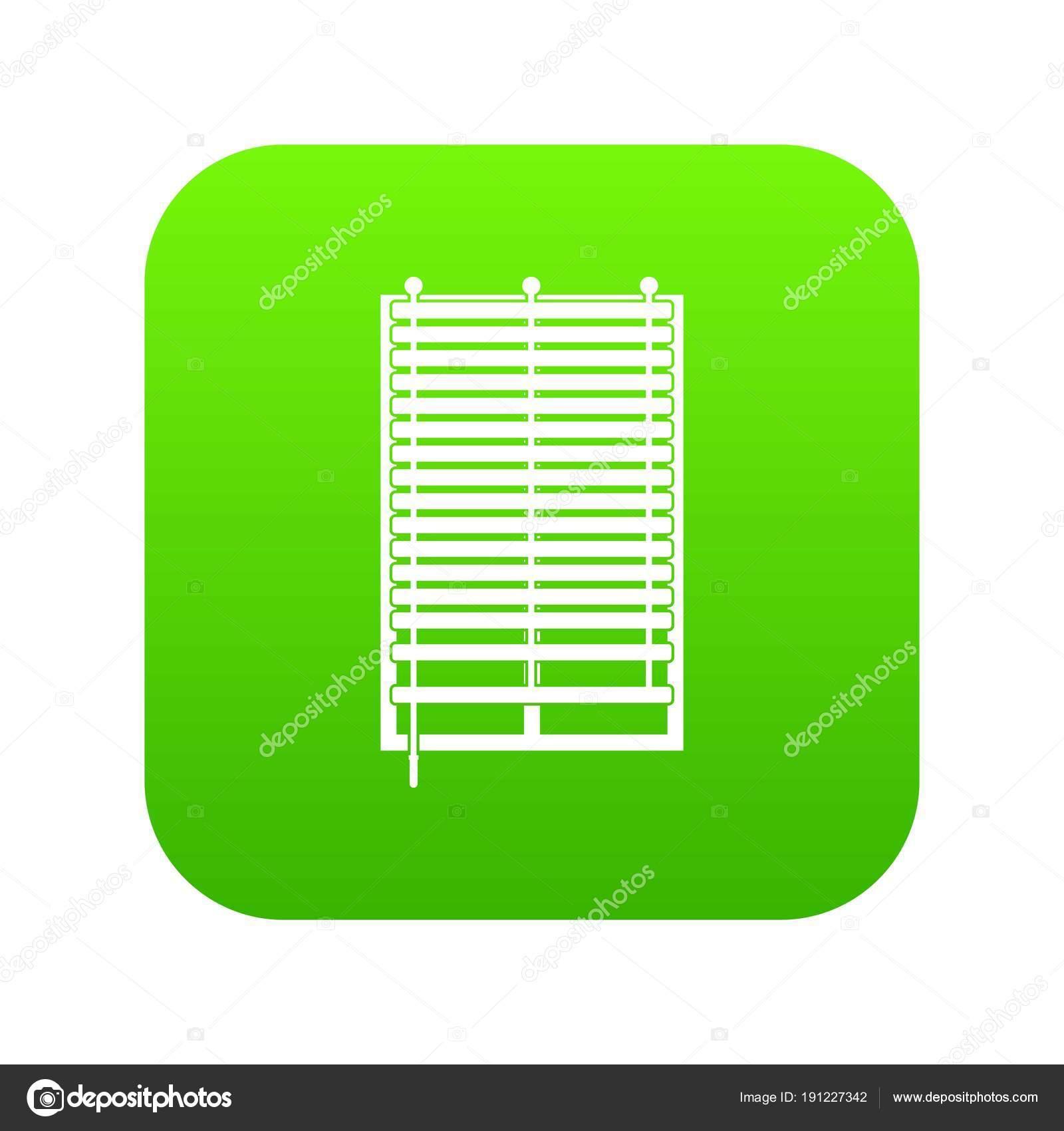 Fenêtre Avec Jalousie En Bois Icône Numérique Vert Image