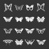 Butterfly collection icons set grey vector