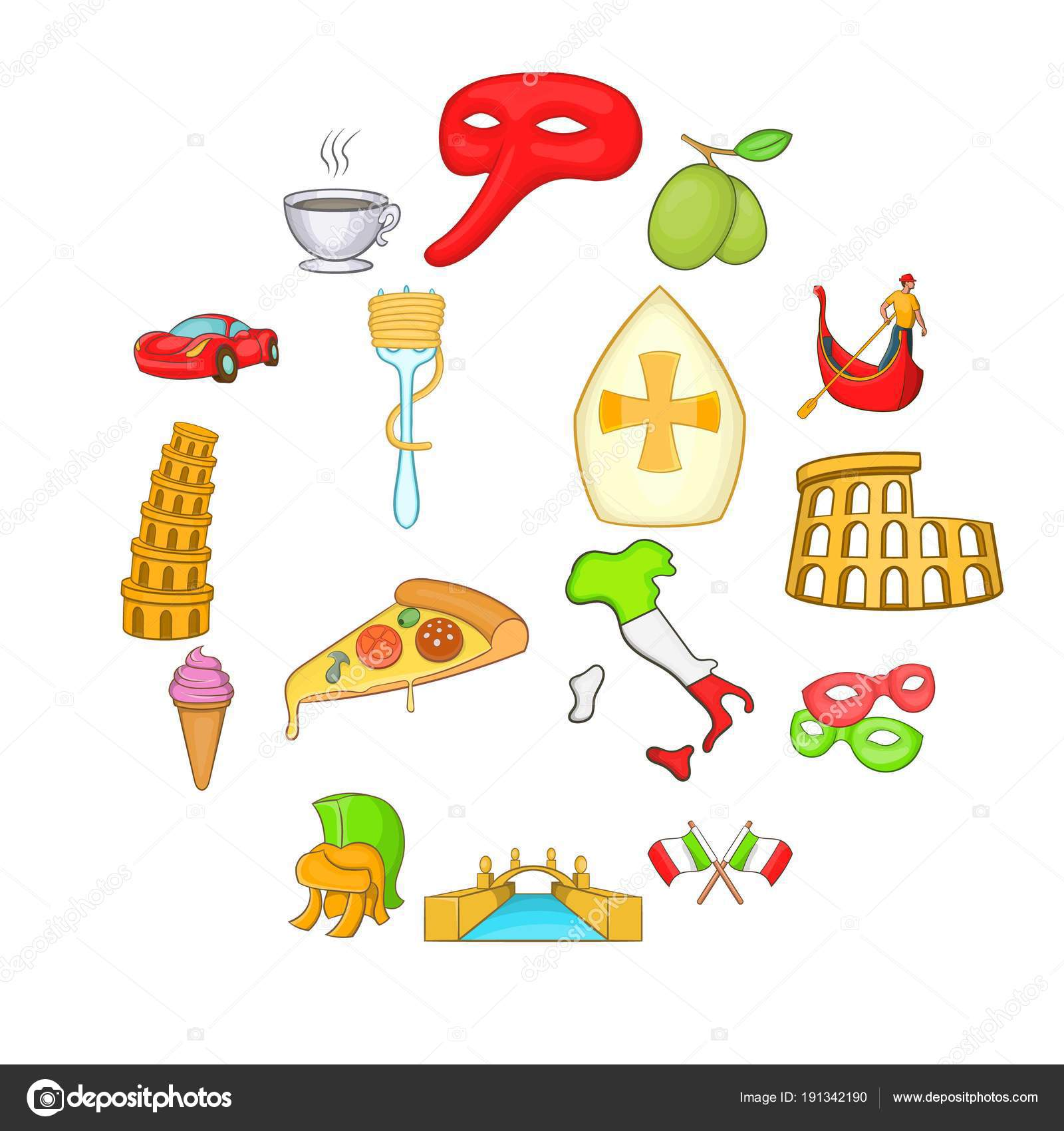 Italy Icons Set In Cartoon Style Stock Vector C Ylivdesign 191342190