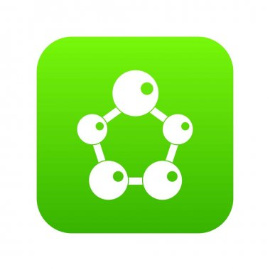 Chemical and physical molecules icon digital green