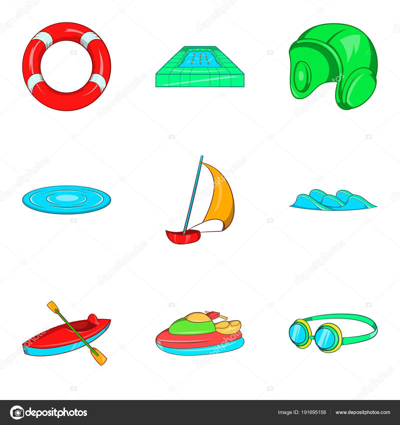 Water Coach Icons Set Cartoon Style Stock Vector Ylivdesign