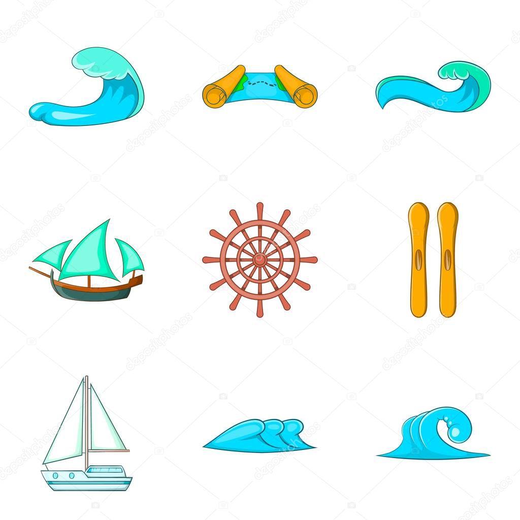 Wave icons set, cartoon style