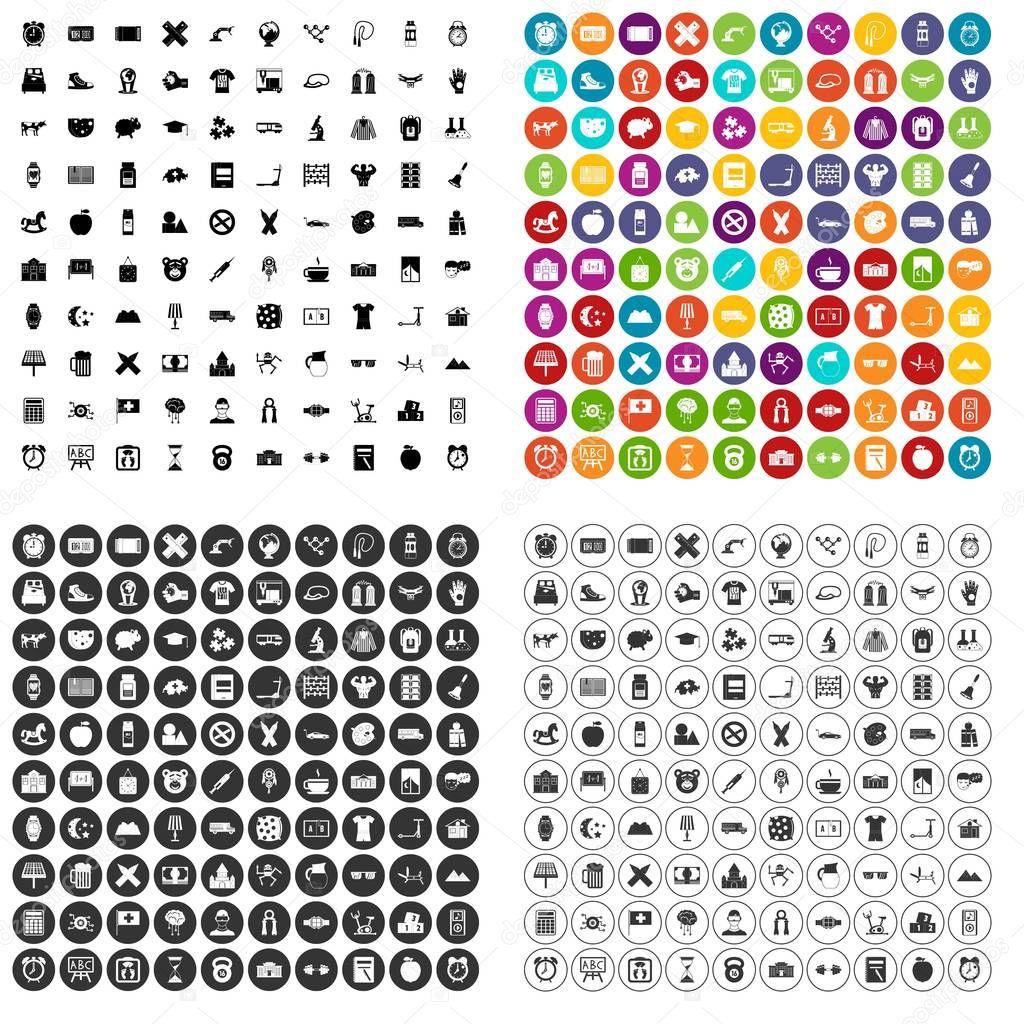 100 alarm clock icons set vector variant
