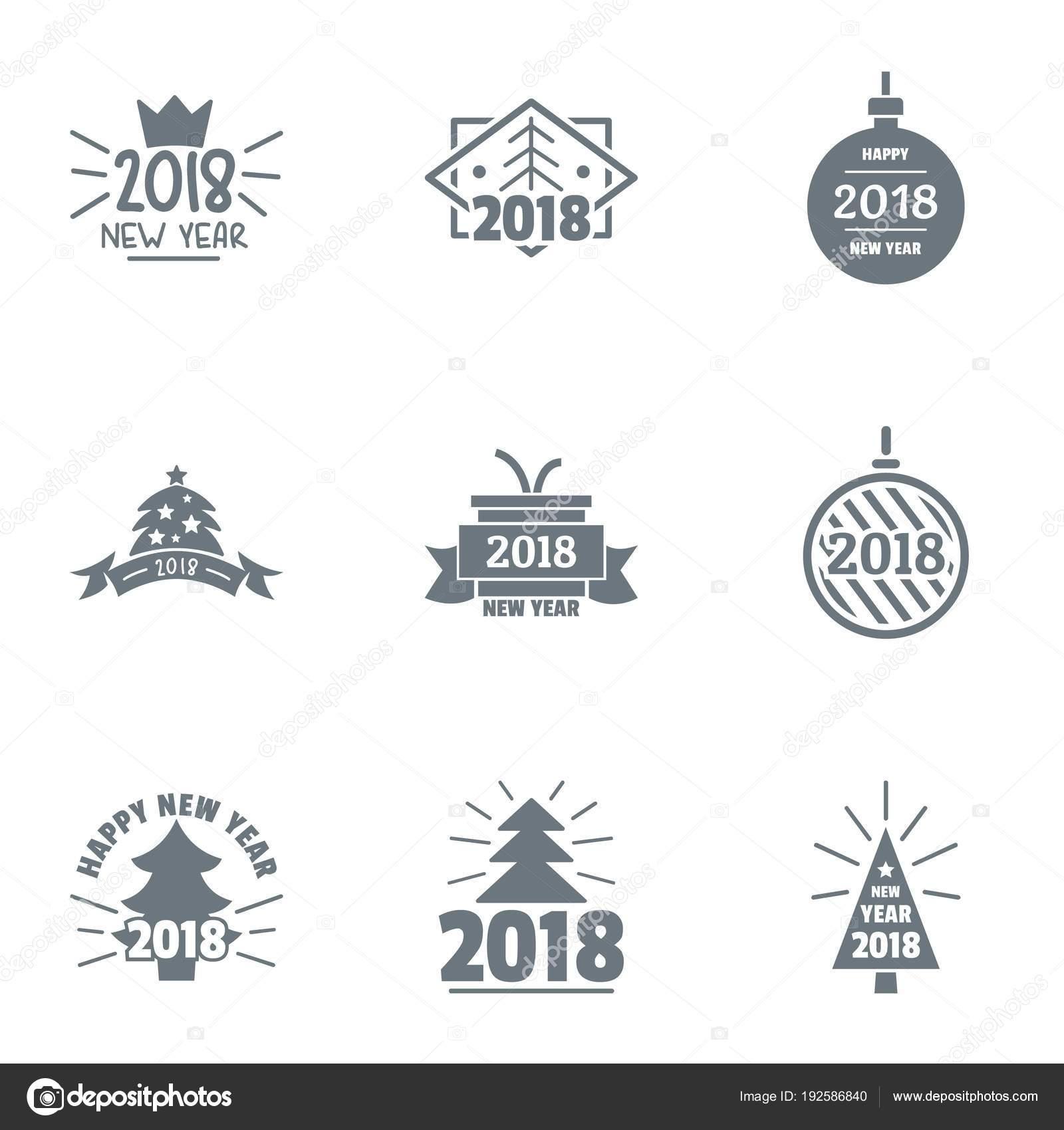2018 ano novo logotipo definido. Conjunto simples de logotipo de vetor  hipster 9 para web isolado no fundo branco — Vetor de ylivdesign