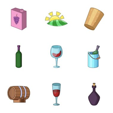 Alcoholic drink icons set, cartoon style