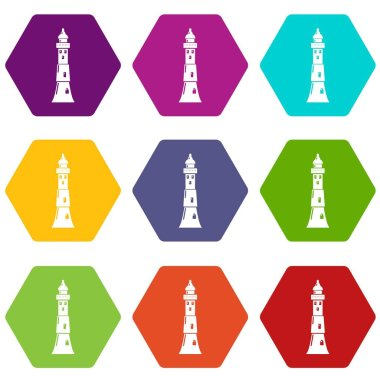 Tower icons set 9 vector
