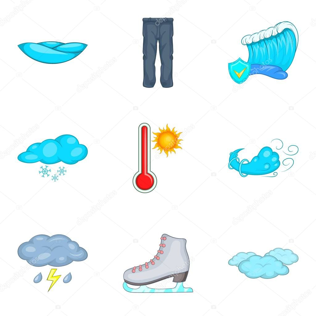 Chilly weather icons set, cartoon style