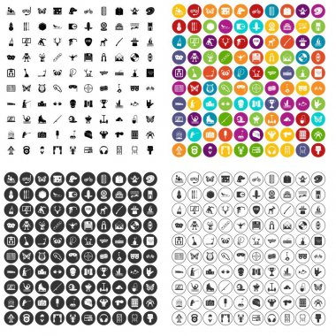 100 favorite activity icons set vector variant