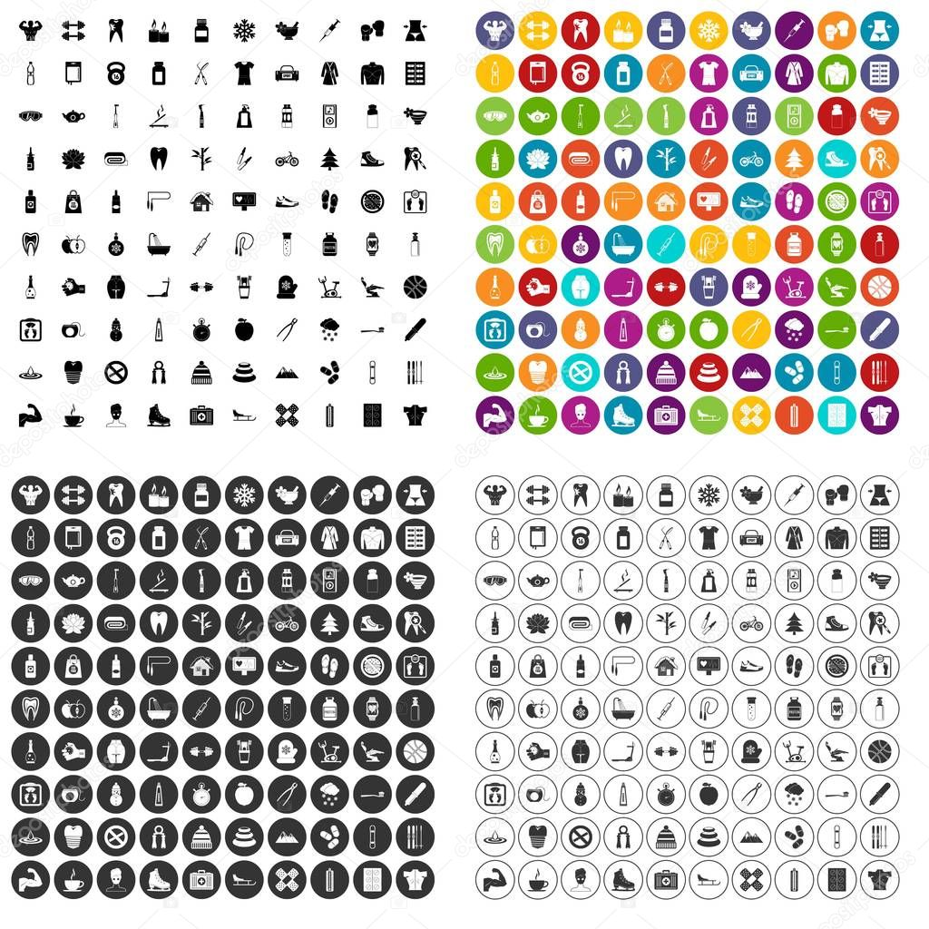 100 fit body icons set vector variant