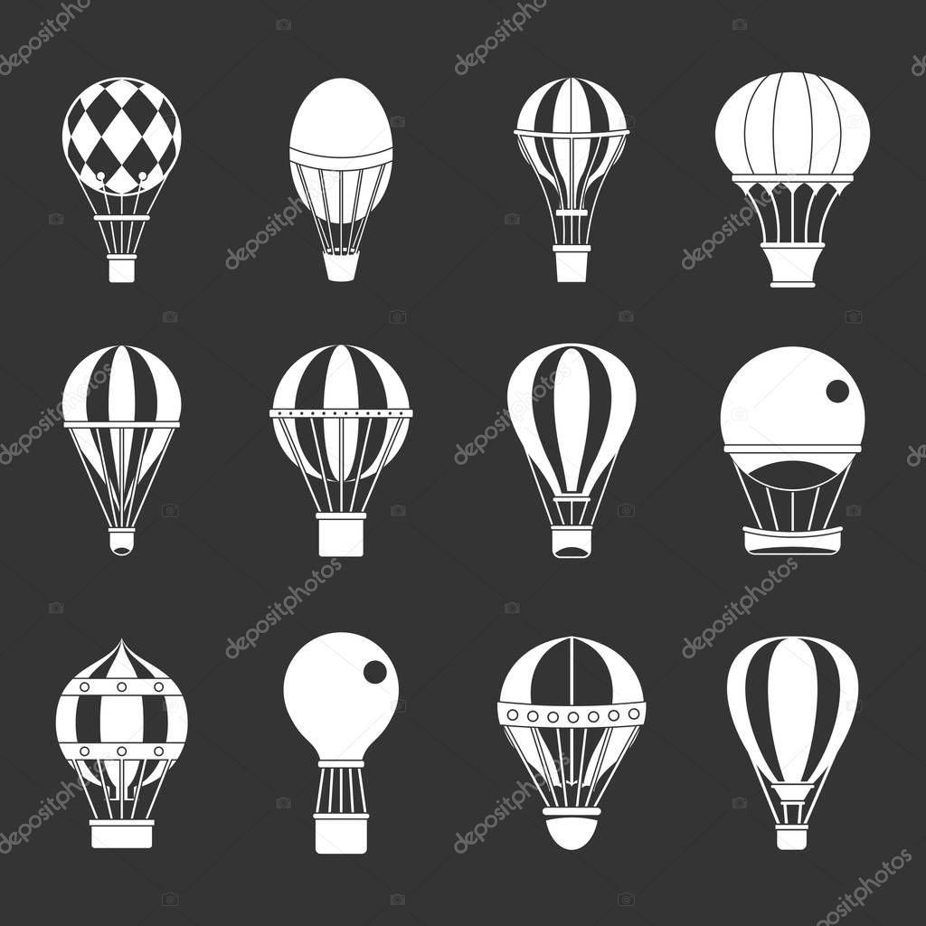 Air ballon icon set grey vector
