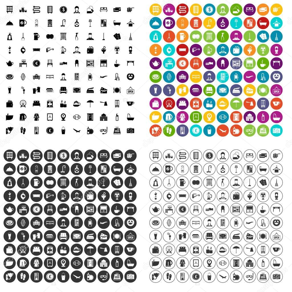 100 inn icons set vector variant