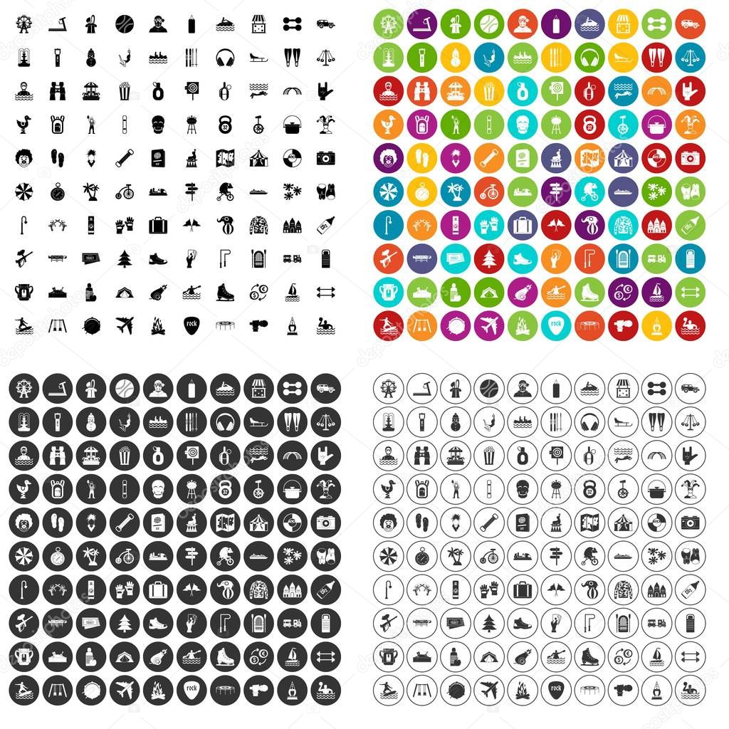 100 leisure activity icons set vector variant