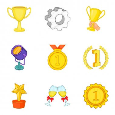 Certificate icons set, cartoon style