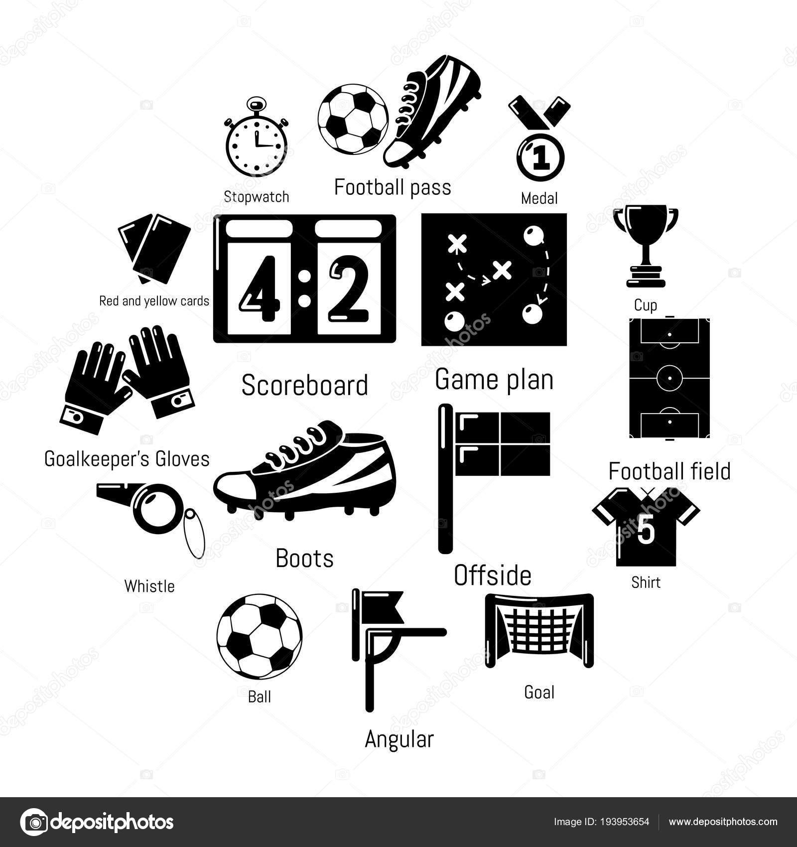 Fussball Fussball Icons Set Einfachen Stil Stockvektor