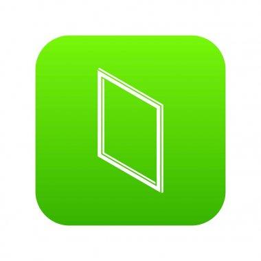 Metal-plastic window frame icon green vector